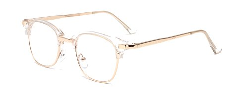 ALWAYSUV Vintage Inspired Classic Half Frame Horn Rimmed Clear Lens Non-prescription Glasses For Women/Men White