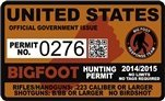 "United States Bigfoot Hunting Permit 2.4"" x 4"" Decal Sticker"
