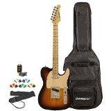 Sawtooth ST-ET-SBW-KIT-2 Electric Guitar, Sunburst with Aged White Pickguard