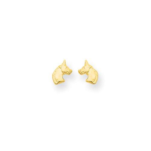 Girls Unicorn Screw Back Post Earrings in 14k Yellow Gold (Gold Unicorn Yellow 14k)