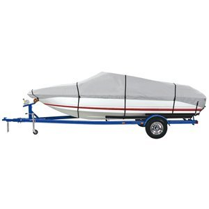 Runabouts Except Cuddy Cabin (Dallas Manufacturing Co. 600 Denier Grey Universal Boat Cover - Model D - Fits 17'-19' - Beam Width to 96