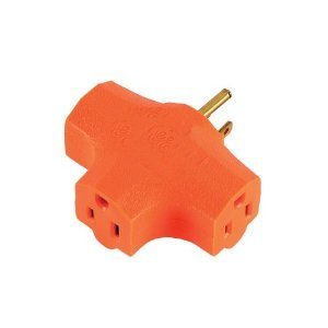 3 grounded Outlet T shaped Adapter Orange