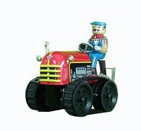 tin toys new collector wind up metal classic tractor nostalgic black red -