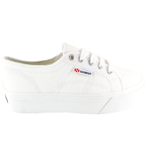 Donna Superga 2790 Tela Plimsoll Casuale Pattino Pianoform Basso Top Formatori, Blanc, 41 EU