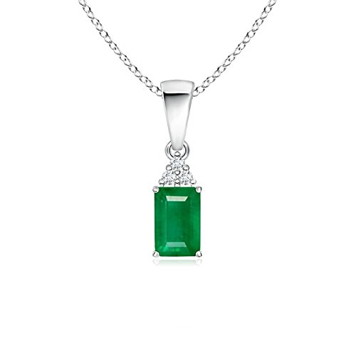 Angara Emerald-Cut Emerald Diamond Dangling Necklace in Platinum FlGqe4vQES