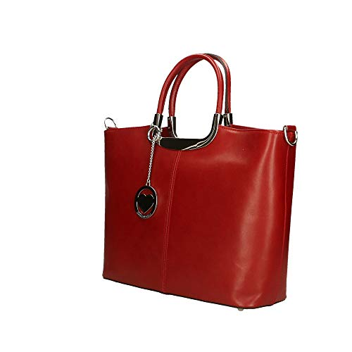 Borse En Genuina Mano In De Rojo 36x27x12 Piel Cm Chicca Italy Made n5xq8BY7