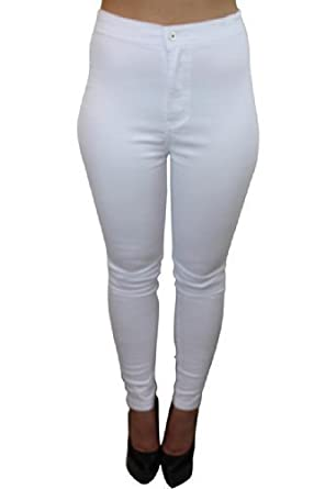 Celeb Look High Waisted White Skinny Jeans: Amazon.co.uk: Clothing