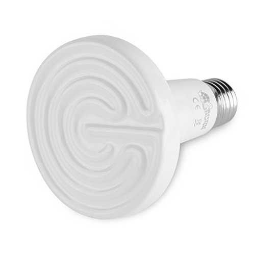 Floureon Ceramic Infrared Bulb Heat Emitter Reptile Lamp 110V 50Watt 10,000 Hours Long Life Light Bulb, White (50W) (Lightbulb Heater compare prices)