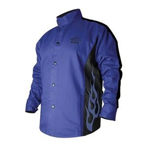 Revco BXRB9C-XL Welding Jacket, 9 oz. Flame Resistant Cotton Body, 30'', X-Large, Blue