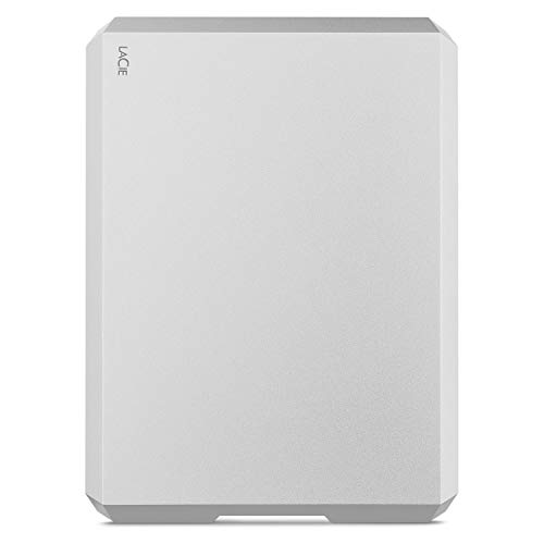 LaCie Mobile Drive 4TB External Hard Drive Portable HDD - Moon Silver USB-C USB 3.0, for Mac and PC Desktop, 1 Month Adobe CC (STHG4000400)