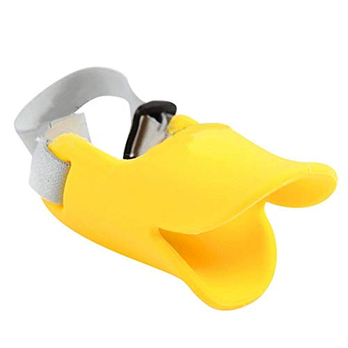 NACOCO Anti Bite Duck Mouth Shape Dog Mouth Covers Anti-Called Muzzle Masks Pet Mouth Set Bite-Proof (Yellow, M)]()