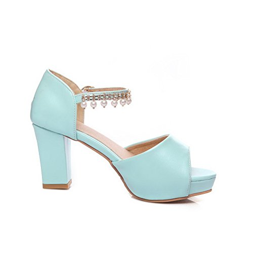 AdeeSu Womens Sandals Peep-Toe Buckle Ankle-Wrap Mid-Heel Cold Lining Rubber Water_Resistant All-Weather Urethane Huarache Urethane Sandals SLC03498 Blue YeRA1