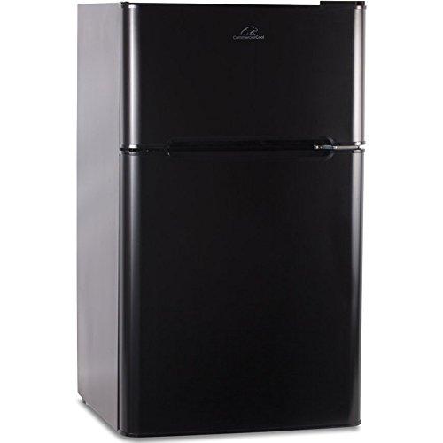 Commercial Cool CCRD32B Compact Double Door Refrigerator with True Freezer, 3.2 Cu. Ft. Mini Fridge, Black