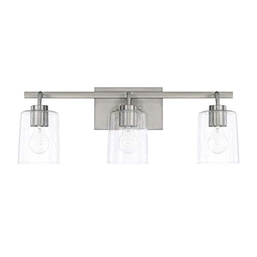 Capital Lighting 128531BN-449 Homeplace/Greyson - Three Light Bath Vanity, Brushed Nickel Finish with Clear Seeded Glass