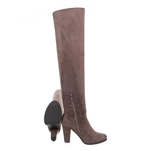 marrón clásicas Ital botas Mujer Design claro wxxaBqFI