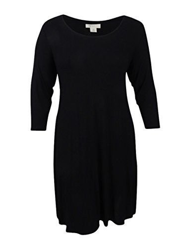 Style & Co. Womens Plus Swing 3/4 Sleeves Mini Dress Black 3X (Mini Three Quarter Sleeve Dress)