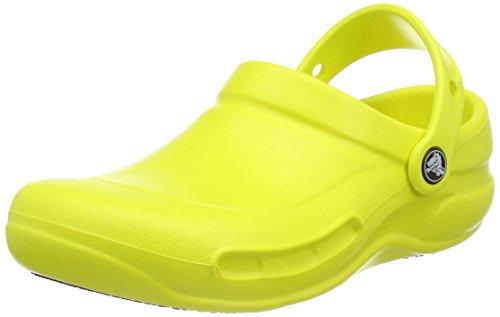 Crocs Men's and Women's Bistro Clog, Slip Resistant Comfort Slip On, Lightweight Nursing or Chef Shoe Tennis Ball Green, 17 US Women / 15 US Men