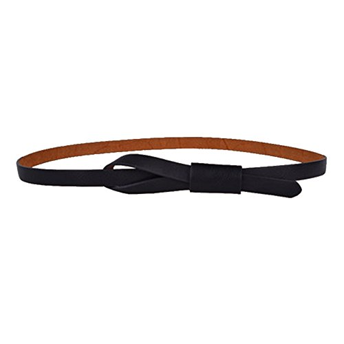 Deercon Lady PU Leather Skinny Thin Tie Buckle Waist Belt Waistband - Thin Black Belt