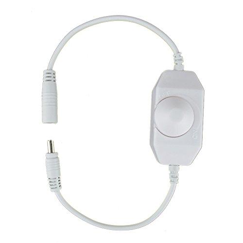 HitLights LED Strip Light Mini Dial Dimmer, White, Easy DC J