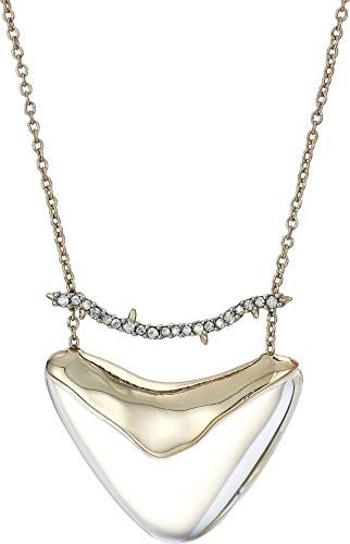 Alexis Bittar Women's Crystal Encrusted Bar and Shield Pendant Necklace Clear One Size (Lucite Pendant)