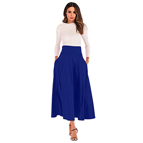 - Women's High Waist A Line Skirt,Casual Pleated Solid Front Slit Belted Long Maxi Skirt with Pocket (Blue, L)