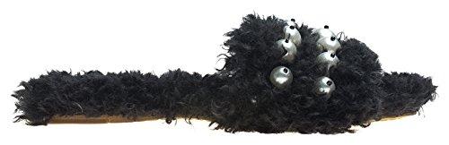 AnnaKastle Womens Faux Pearl-Embellished Faux Shearling Slide Sandals Black UkdY3ai