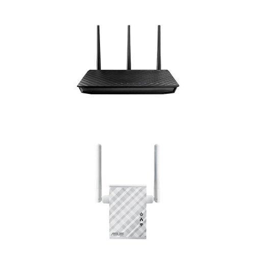 ASUS RT-N66U Dual-Band Wireless-N900 Gigabit Router & ASUS N300 Repeater/Access Point/Media Bridge (RP-N12)