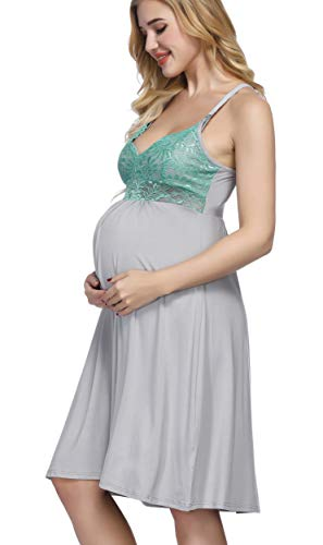Maternity Spaghetti Strap Lace Patchwork Breastfeeding Nursing Nightgown Sleepwear