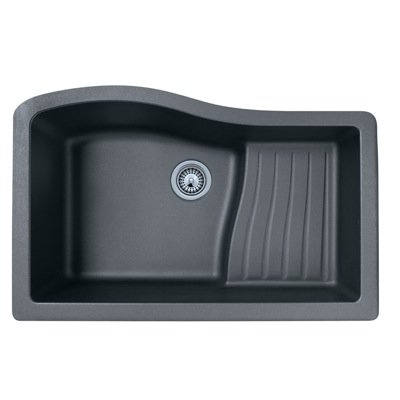 Swanstone QUAD-3322.077 33-Inch by 22-Inch Undermount Ascend Bowl Kitchen Sink, Nero