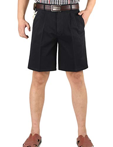 Yeokou Men's Classic Weekend Oxford Pleated Front Golf Shorts(Navy blue-44)