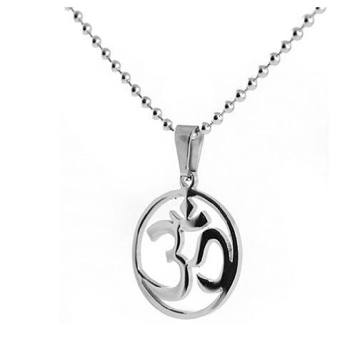 Ohm Necklace - Buddhist Ohm Symbol Pendant -...