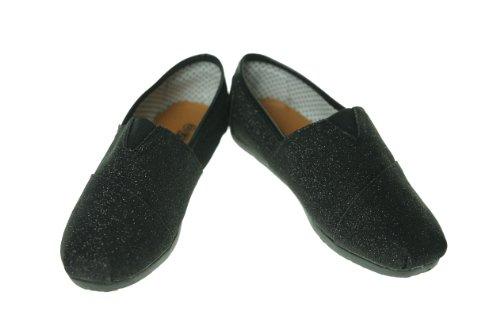 Shoes of Soul Glitter Canvas Shoe Black 6