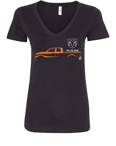 Dodge RAM Truck Women's V-Neck T-Shirt Heavy Duty V8 Pickup Truck Black M