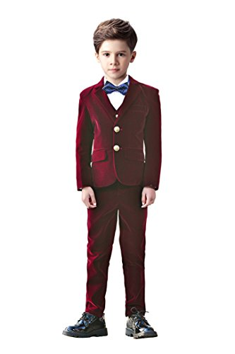 Yanlu 5 Piece Boy's Velvet Suits Boy Kids Formal Dress Slim Fit Suit For Weddings Size 7 Burgundy]()