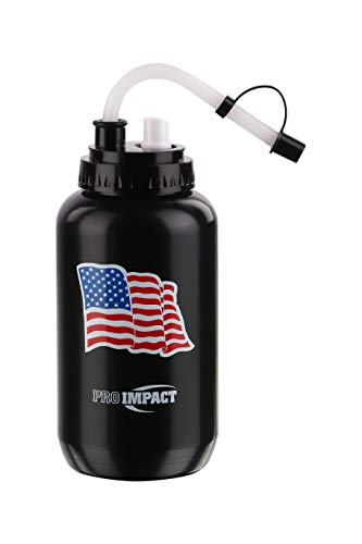 American Football Caps - Pro Impact Boxing Water Bottle - Squeezable Plastic w/Long Straw & Spray Cap - Ideal for Gym Yoga Sports Boxing Lacrosse Football Hockey Cycling & Outdoors (35.5 Oz.) (Black American Flag)