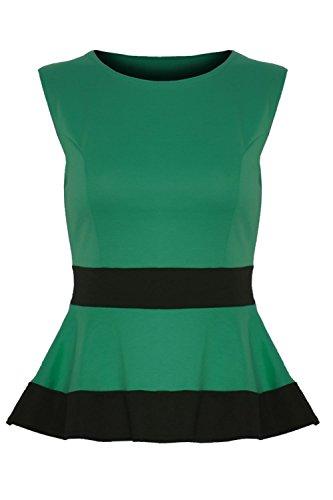 beneiden werden Damen Kontrast Taille Panel Skater Schößchen Mini Kleid Top Plus Größe Jadegrün - Dehnbar Schmal Schlankmachend Promi
