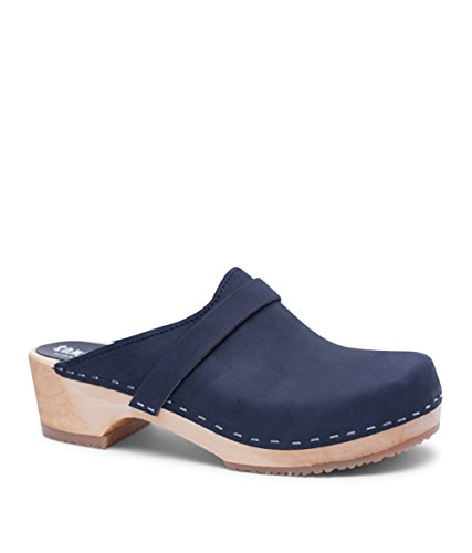 Sandgrens Swedish Low Heel Wooden Clog Mules for Women | Tokyo in Navy by, Size US 8 EU 38 by Sandgrens