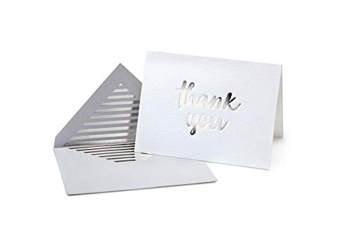 Luxury Silver Foil Letterpress Thank You Cards and Gray Envelopes 20 Pack - Opie's Paper Company (Silver) (Card Silver Wedding)