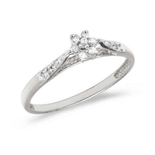 (0.10 Carat ctw 10k Gold Round White Diamond Solitaire Cluster Flower Engagement Promise Ring - White-gold, Size 6)
