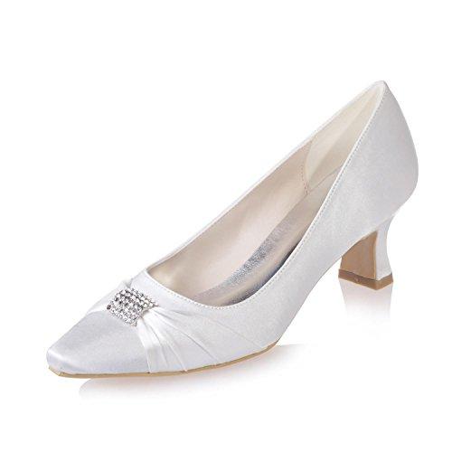Boda Blanco Stretch Oficina Femenina yc De Zapatos Profesional 03 L 0723 Con Satin Ropa amp; Noche Punta Fiesta qxtUFWng