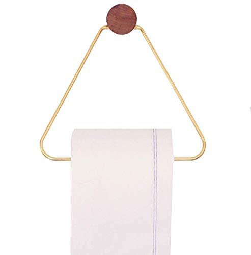 (WaldenTheory Brass Toilet Paper Holder Wooden Wall Mount Minimalistic Triangle Vintage Design Tissue Roll Dispenser)