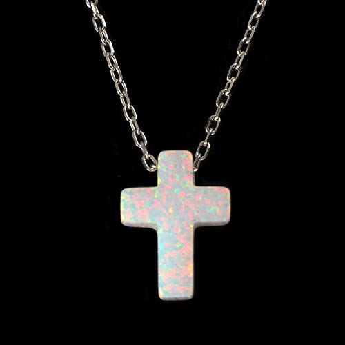 Women's Mini White Created Opal Cross Tiny Pendant Necklace with Sterling Silver Chain 16+1 inches