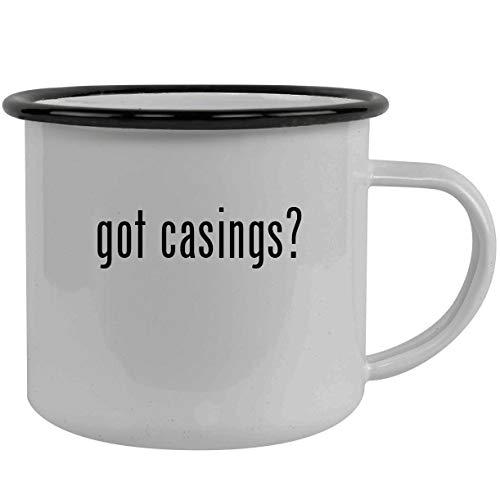 got casings? - Stainless Steel 12oz Camping Mug, Black (Banksy Kindle Case)