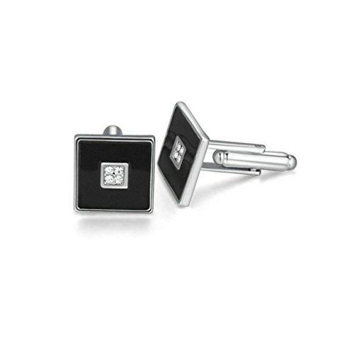Aooaz Silver Plated Cufflinks Square Crystal Rhinestone Cuff Links For Men Women Black CZ 1.5CM1.5CM
