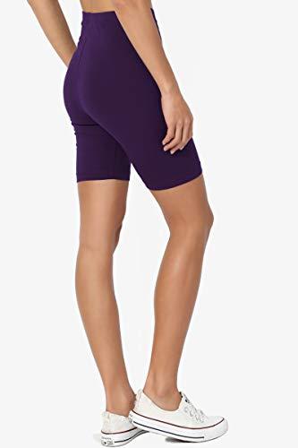 dc67828658d3a1 TheMogan Women's Mid Thigh Cotton High Waist Active Short Leggings Dark  Purple S