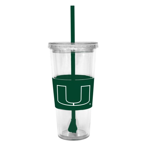 Hurricanes Coffee Mug (NCAA Miami Hurricanes Insulated Tumbler with Rubber Sleeve and Stir Straw, 22-ounce)