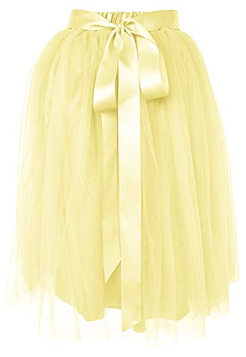 Dancina Women's Knee Length Tutu A Line Layered Tulle Skirt Plus (Size 12-22) Yellow -