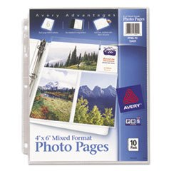 Photo Pages for Six 4 x 6 Mixed Format Photos, 3-Hole Punched, 10/Pack, Total 24 PK ()
