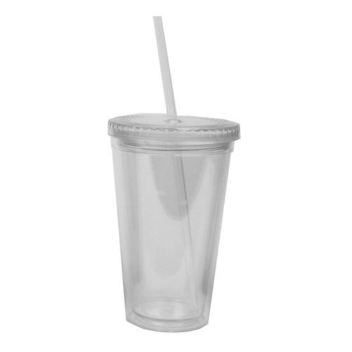 Eco To Go Cold Drink Tumbler - Double Wall -16oz. Capacity - (Plastic Tumbler With Straw)