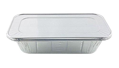 1/3 ThirdSize Deep Aluminum Foil Steam / 5 lb Loaf Pan w/Foil Lids 10 Sets